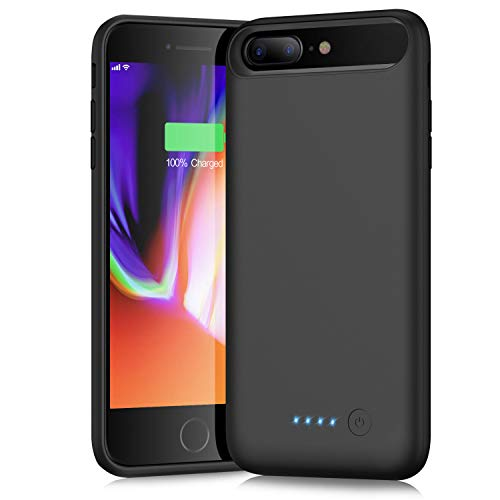 Battery Case for iPhone 8 plus/7plus 8500mAh,Trswyop Protective Rechargeable Charging Case External Battery Pack for iPhone 7plus/8plus Portable Charger Case Backup Battery Bank (5.5 inch) (Black)