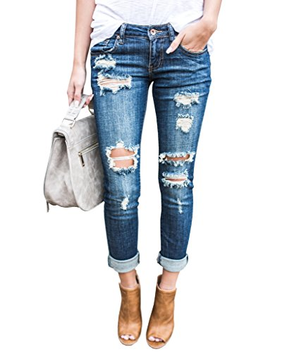 Ermonn Women Distressed Denim Jeans Skinny Stretch Roll up Ripped Blue Jeans...