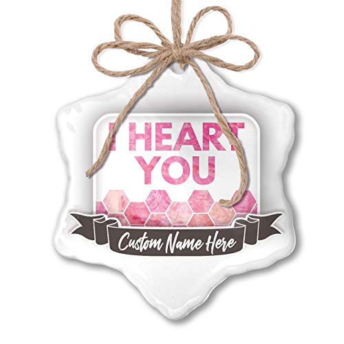 NEONBLOND Create Your Ornament I Heart You Mother's Day Watercolor Honeycomb Pink ()