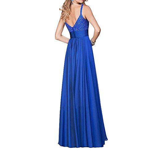 Royal Abiballkleider Neu Zwei linie Pailletten A Damen Charmant Spitze traeger Abendkleider Blau Abschlussballkleider Lang 7q0wnBU