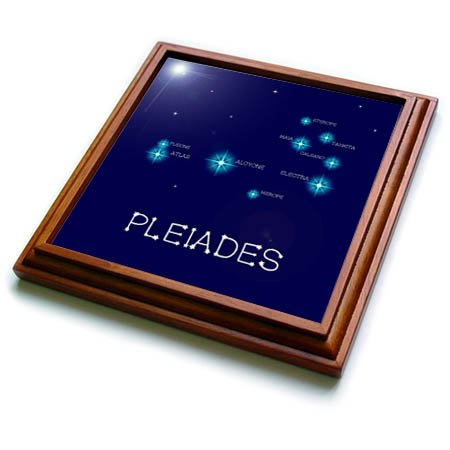 3dRose Alexis Design - Constellations of stars - Pleiades star cluster. Star colors, names. Elegant astronomy - 8x8 Trivet with 6x6 ceramic tile (trv_286118_1)
