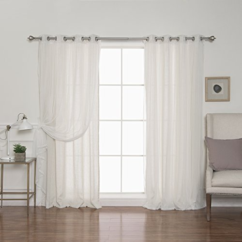 Best Home Fashion uMIXm Tulle & Faux Linen Mix & Match Curtain Set – Stainless Steel Silver Grommets – Natural – 52″ W x 84″ L (4 Panels) Review