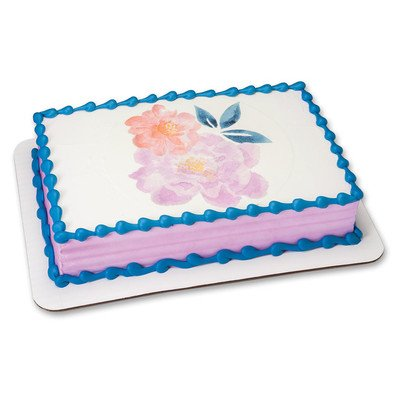 Watercolor Flowers Edible Icing Image for 6 inch Round Cake