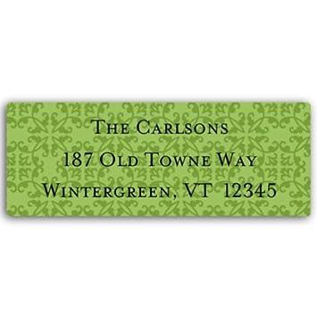 amazon com damask green return address labels health personal care