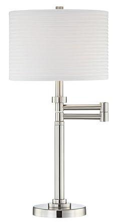 Brushed Nickel Pleated Shade Swing Arm Desk Lamp Amazon Com