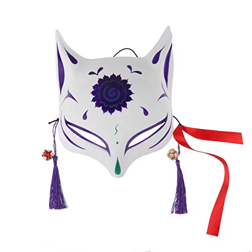 iEFiEL Japanese Half Face PVC Fox/Bunny Mask Masquerade Festival Kabuki Kitsune Costume Face Cover Purple One Size ()