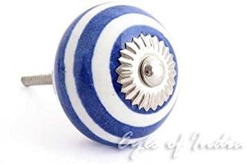 Eyes of India Blau Indigo Keramik Schrank Kommode Schrank Kn/öpfe Griffe Dekorativ Shabby Chic Bunt Boho Bohemian Akzent Handgefertigt Breit Range Dunkelblau #3 Set of 2