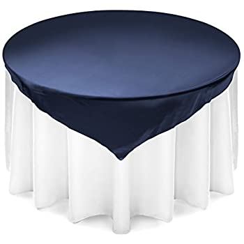 Lannu0027s Linens 72 Inch Square Satin Tablecloth Overlay   Wedding Banquet  Party Decoration   Navy Blue