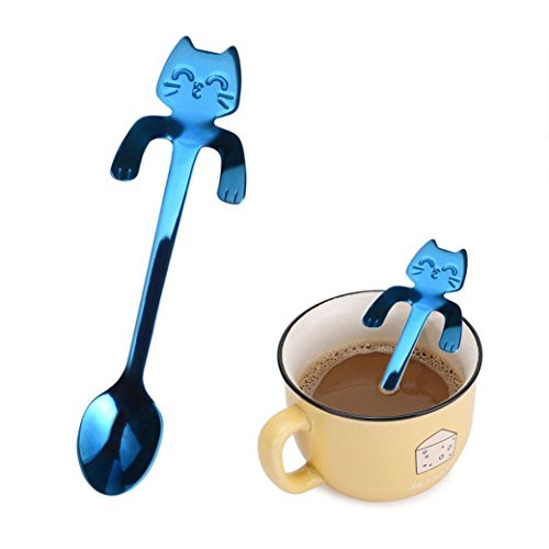 (ZTTONE Spoon,Cute Cat Spoon Long Handle Spoons Flatware Coffee Drinking Kitchen Tools (Blue, C))