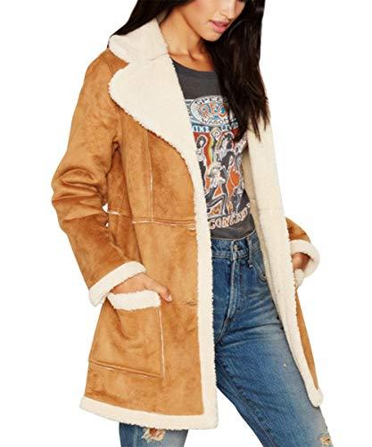 - AOFITEE Women's Winter Warm Sherpa Lined Jacket Long Sleeve Faux Suede Coat