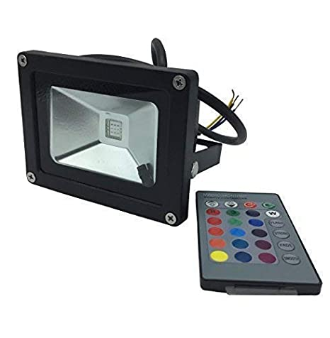 YXH® 10W Proyector RGB LED, Foco Cambio de color Ac 85-240V,LED Luz de seguridad, (16 colores/4modos/24teclas de remoto) Impermeable,Luz del ...