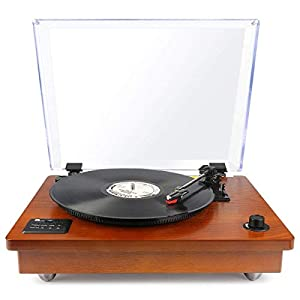 1byone Belt Driven Wooden Turntable with Built-in Stereo Speaker, Vintage Style Record Player, Vinyl-To-MP3 Recording, Natural Wood