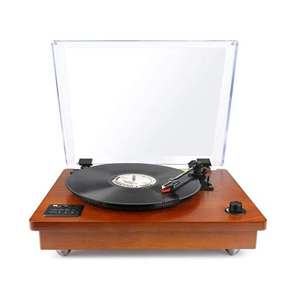 1byone Belt Driven Bluetooth Turntable Built-in Stereo Speaker, Vintage Style Record Player, Vinyl-to-MP3 Recording, Natural Wood 3
