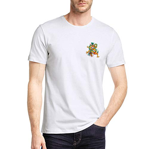 - iSovze Casual Men's Short Sleeve T-Shirt Fashion Print Crew Neck Comfort Tops(White-3,3XL)