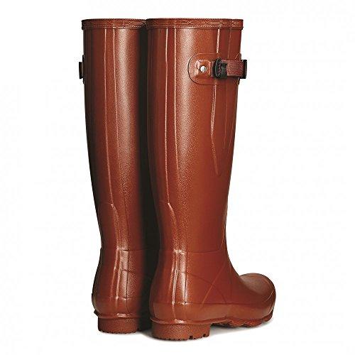 Hunter Campo De Norris Lado Señoras Ajustable Wellington Boot marrón - Burnt Sienna