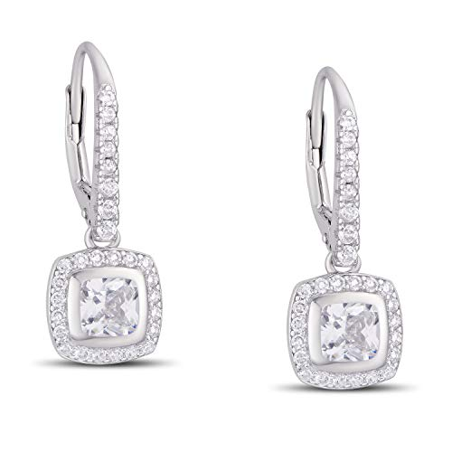 - Victoria Townsend 925 Sterling Silver Cubic Zirconia Halo Leverback Drop Earrings