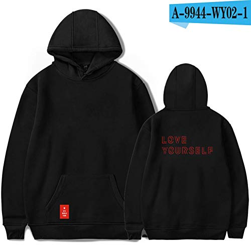 Love Yourself Answer Hoodies World Tour Hoodies Women Print Kpop Long Sleeve Sweatshirts,Black,XXL