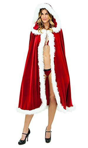 Christmas Halloween Velvet Hooded Long Robe Cloak Mrs Santa Claus Costume Cape Dress up (Mrs Santa Outfit)