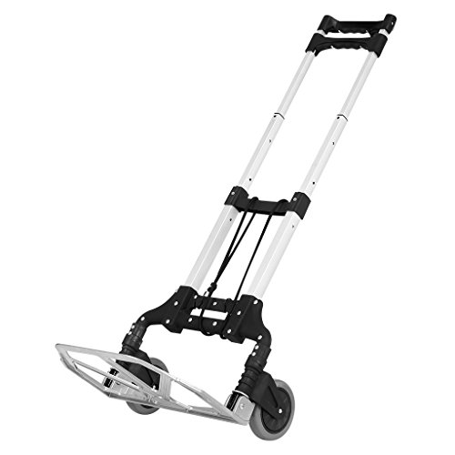 Finether Cart Aluminum Folding 2-wheel Hand Truck|Lightweight Portable Trolley dolly for Indoor Outdoor Travel Shopping Office, Black