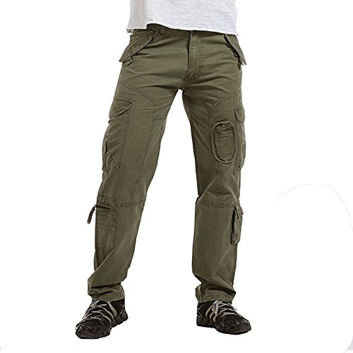 010 Green - NiuZi Mens Military Cargo Pants Loose Fit Cotton Casual Multi-Pocket Camouflage Cargo Outdoor Work Pants (010 Grass Army Green, 33)