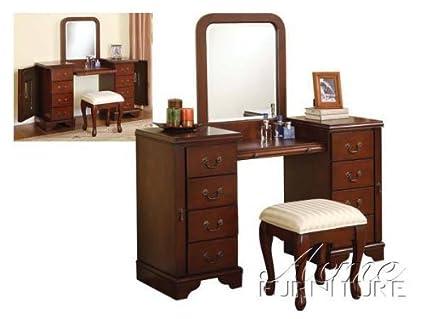 Amazon Com 3pc Vanity Table Mirror Stool Set In Cherry Finish