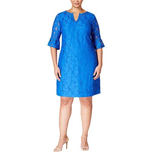 Jessica Howard Evening (Jessica Howard Womens Plus Lace Split-Neck Cocktail Dress Blue 18W)