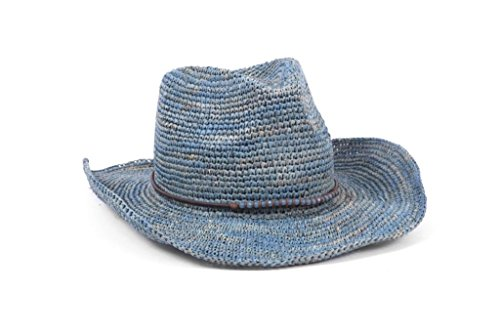 ale by Alessandra Women's Cassidy Crochet Raffia Cowboy Sunhat Packable and Adjustable, Turquoise, One Size by ale by Alessandra