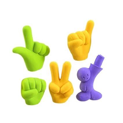 eDealMax Mano Niños dedo sesión gomas de borrar Set, 5 en 1, tri Color