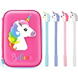 BBTO Unicorn Shockproof Pencil Case with Gel Ink Pens Stationery for Kids and School Students