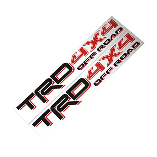Demupai TRD 4X4 Off Road Decal Vinyl Car Stickers for Toyota (Red + Black) -