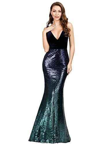 Ever-Pretty Women Sequin Sleeveless Bridesmaid Dresses Prom Party Gowns for Women Navy US18