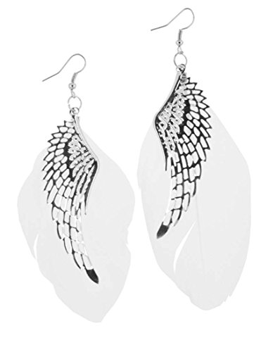 Angel Earrings White - Angel Wing Feather Earrings (White)