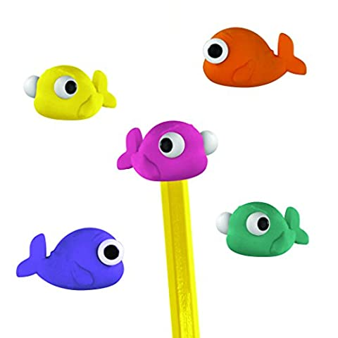 Mustard Pencil Toppers Rubber Erasers - Assorted Colors Fish - Fish Eraser