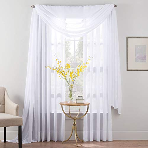 SmartSheer Crushed Voile Curtain Panels - White, 63