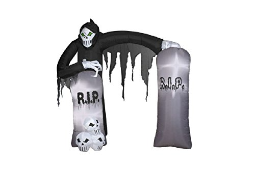 Art Stone Holiday Costumes (Gemmy Airblown Inflatable Grim Reaper Archway with Tombstones and Skulls - Holiday Decoration, 8.5-foot Tall x 8-foot Wide x 3.5-foot Deep)