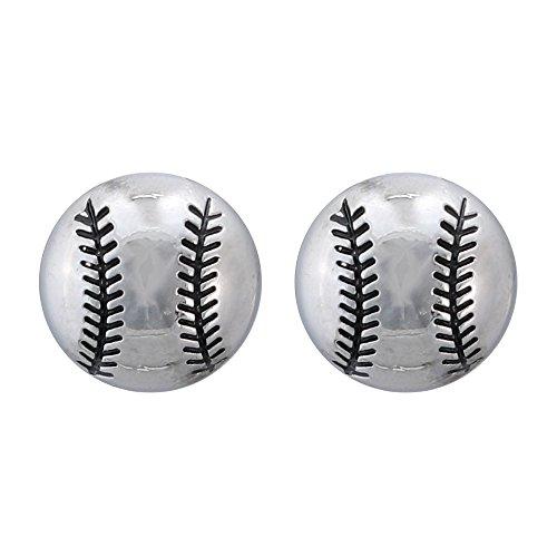Softball Earrings - Softball Silver Post Earrings