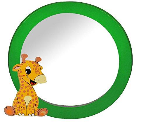 2 in 1: runder Bilderrahmen + Spiegel / Wandspiegel aus massiven Holz - Giraffe / Zootier in grün - Kinderzimmer - Tiere - für Kinder die Wand - Tier - Mädchen Jungen grüner Giraffen Afrika Bilder Rahmen