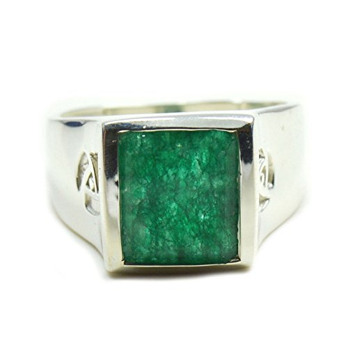 Gemsonclick Natural Emerald Ring Square Shape 925 Sterling Silver