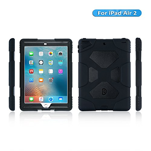 iPad Air 2 Case, KIDSPR Full-Body Rugged Protective Case with Kickstand and Built-in Shockproof Drop Proof Super Protection Stand Cover Case for iPad Air 2 (iPad Air 2, Black Black)