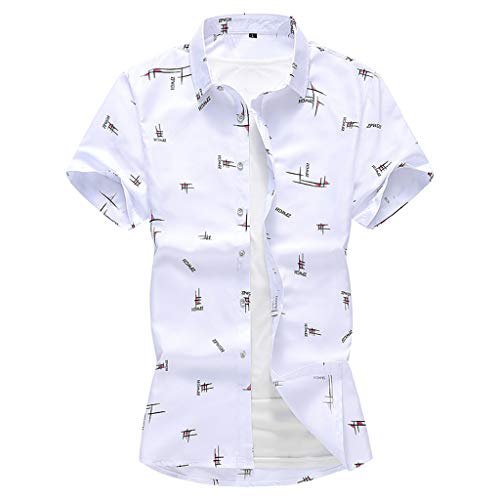 LUCAMORE Mens Summer Fashion Shirts Short Sleeve Beach Tops Loose Casual Blouse White