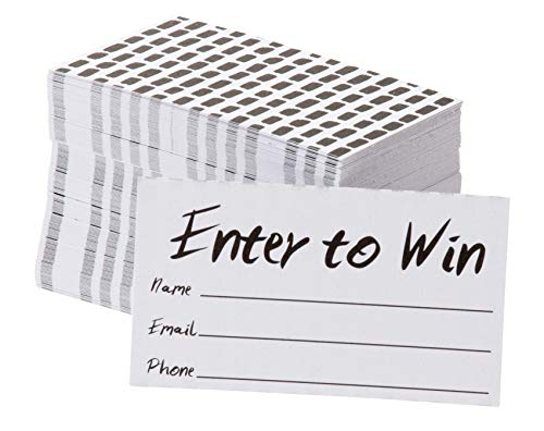 (Enter to Win Cards - 200-Pack Entry Form Cards, Entry Cards for Contests, Raffles, Ballots, Drawings, White, 3.5 x 2 Inches)