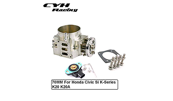 70MM Aluminum Throttle Body TPS For Honda Civic Si K-Series K20 K20A Engine Acura RSX Silver