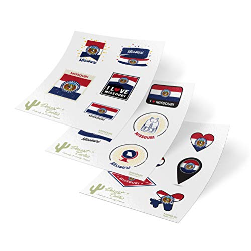 Missouri State Flag Stickers Decals 3 Sheets 17 Total Pieces Kids Logo Scrapbook Car Vinyl Window Bumper Laptop 3 ()