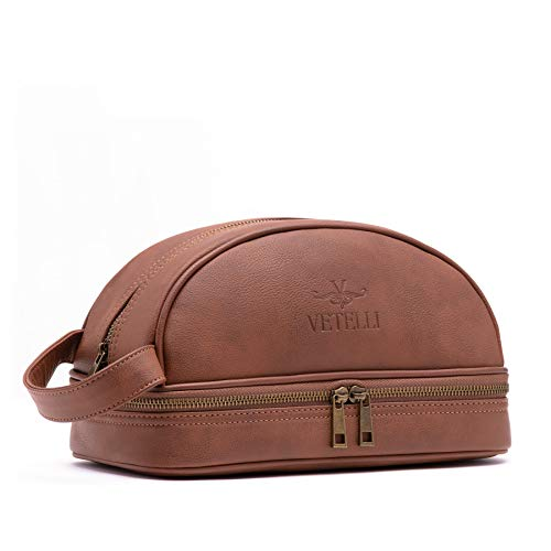 Vetelli Leather Toiletry Bag For Men (Dopp Kit) with free Travel Bottles. The perfect gift and travel - Men Bag Toiletry