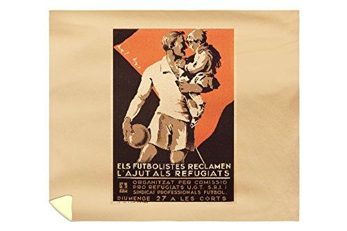 Els Futbolistes Reclamen Vintage Poster (artist: Anonymous) Spain c. 1937 (88x104 King Microfiber Duvet Cover) by Lantern Press