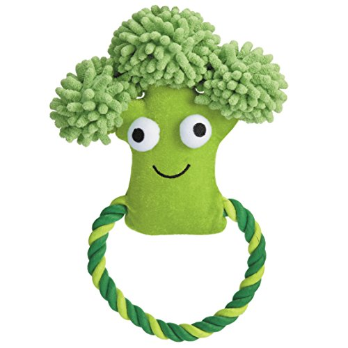 Grriggles Happy Veggies Rope Tugs Dog Toys, Broccoli, 9""