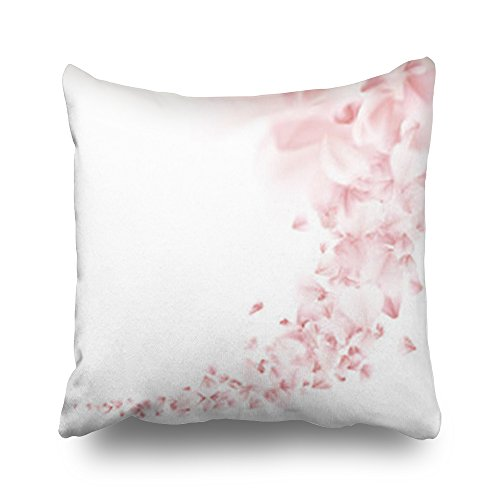 Home Decor Throw Pillow Covers Sakura Flying Petals On White Petal Nature Japanese Square Size 20 x 20 Inches Design Pillowcases Decorative Zippered Cushion Cases
