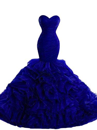 Beilite Women's Sweetheart Mermaid Evening Dresses Long Ruffles Organza Prom Gown Royal Blue -