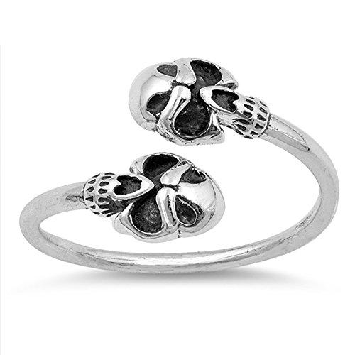 Oxidized Biker Skull Open Adjustable Ring .925 Sterling Silver Band Size (Skull Adjustable Ring)