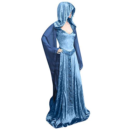 4 Floor On 100 Floors Halloween (Aniywn Women's Halloween Hooded Cosplay Long Dress Loose Vintage Gothic Dress Floor Length Costumes)